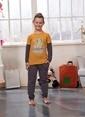 Sevim Baskılı Erkek Çocuk Pijama Takım Hardal